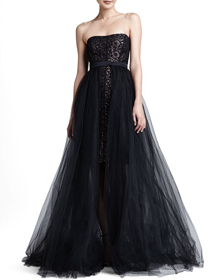 Black Tulle Overlay Skirt