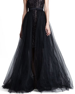ML Monique Lhuillier Black Tulle Overlay Skirt