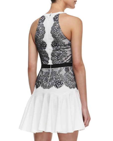 Leyla Lace Detailed Halter Dress, Off White/Black