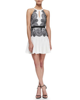 BCBGMAXAZRIA Leyla Lace Detailed Halter Dress, Off White/Black