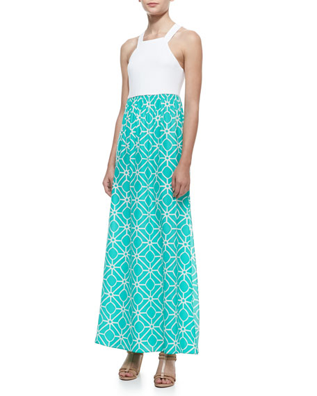 Mallory Printed-Skirt Maxi Dress