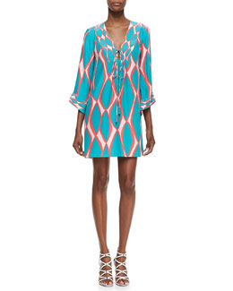 Alice & Trixie India Tie-Neck Printed Dress