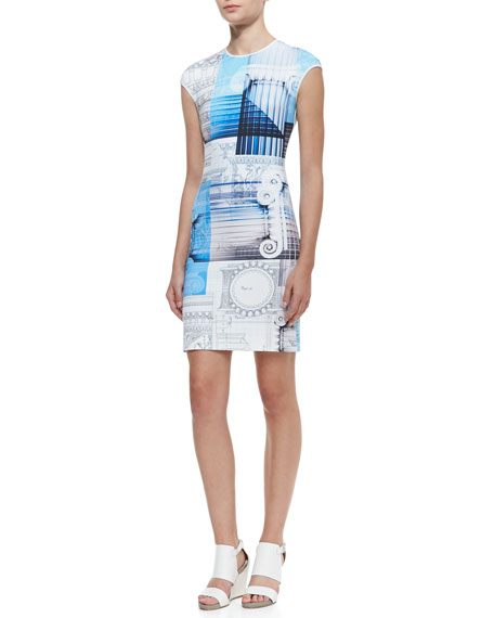 Classical Order Printed Sheath  Dress