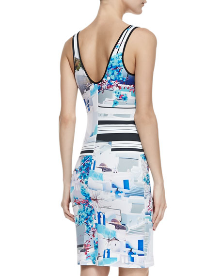 Santorini Stripe Sleeveless Sheath Dress