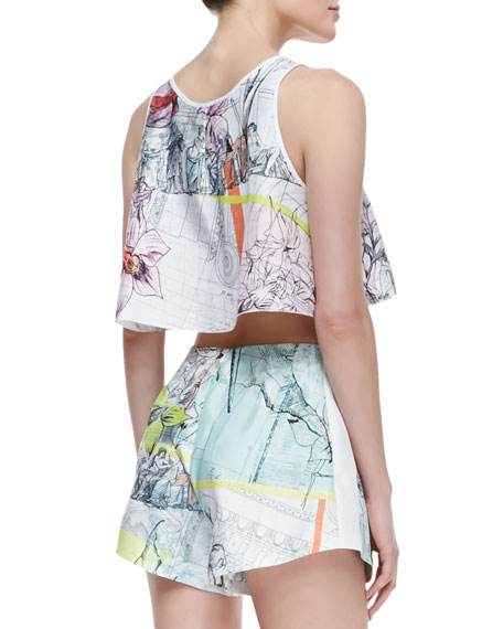 Silk Floral Line Drawing-Print Sleeveless Top