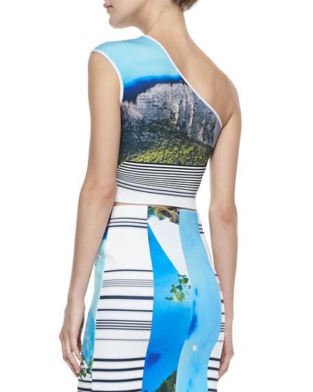 Corfu One-Shoulder Printed Swirl Top