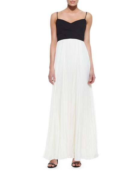 Cross-Bodice Pleated-Skirt Twofer Gown