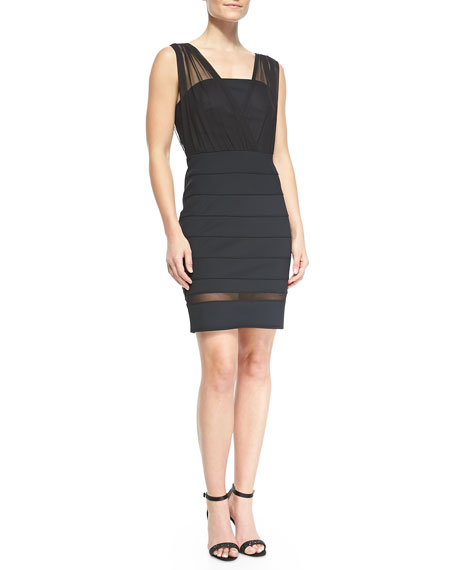 Seamed Knit & Mesh Dress