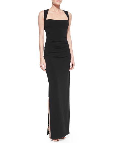 Cross-Back Ruched Middle Gown
