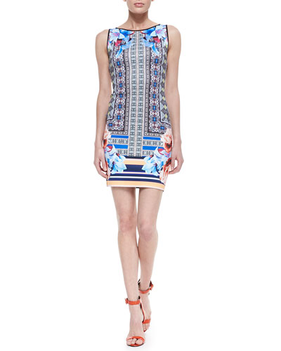 Clover Canyon Byzantine Mixed-Print Scarf Dress