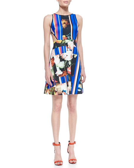 Grecian Bouquet Printed Sleeveless Dress