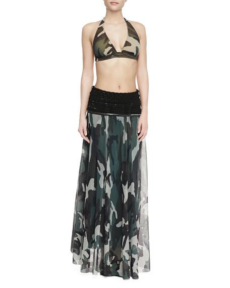 Knit-Waist Sheer Camouflage Skirt