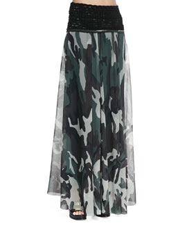 Jean Paul Gaultier Knit-Waist Sheer Camouflage Skirt