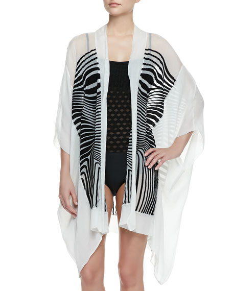 Optical Sheer Striped Chiffon Coverup