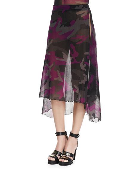 Sheer Camouflage Side-Slit Coverup Skirt
