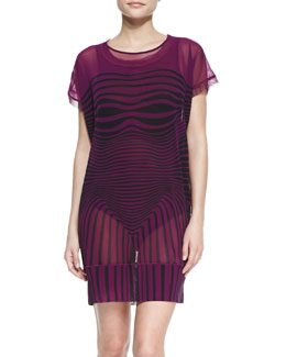 Jean Paul Gaultier Optical Sheer Mesh Tunic Coverup
