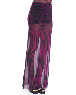 Jean Paul Gaultier Optical Striped Sheer Maxi Skirt Coverup