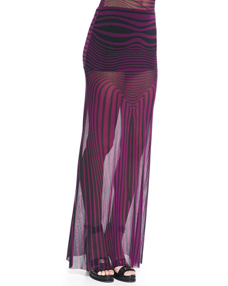 Optical Striped Sheer Maxi Skirt Coverup