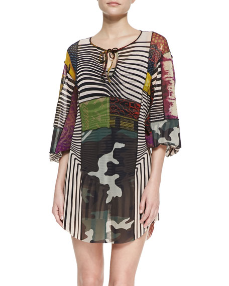 Patchwork-Print Caftan Coverup