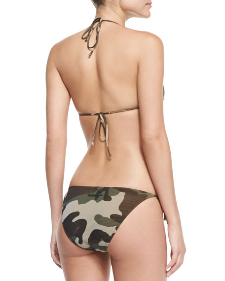 Camouflage-Print Halter Two-Piece