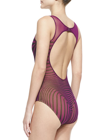 Optical Illusion Sheer-Inset One-Piece