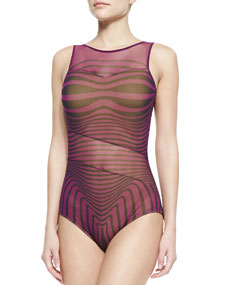 Jean paul gaultier optical illusion sheer inset one piece - Piece jean paul gaultier ...