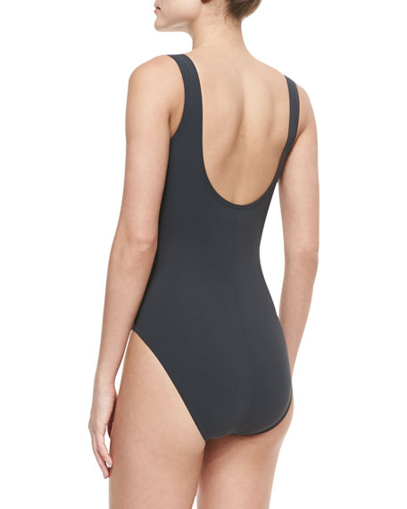 Contrast-Trim Twisted Basic One-Piece Swimsuit