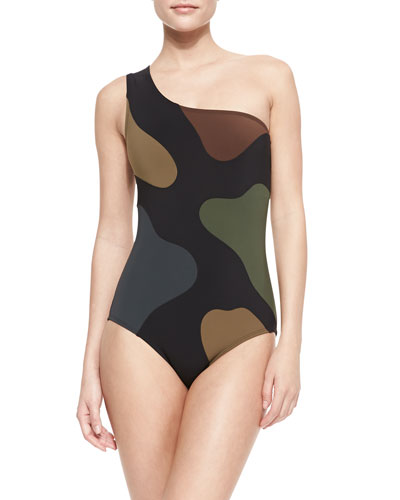 Karla Colletto Camouflage-Print One-Shoulder One-Piece
