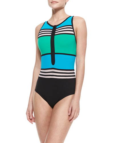 Karla Colletto Striped/Colorblock Front-Zip Swimsuit