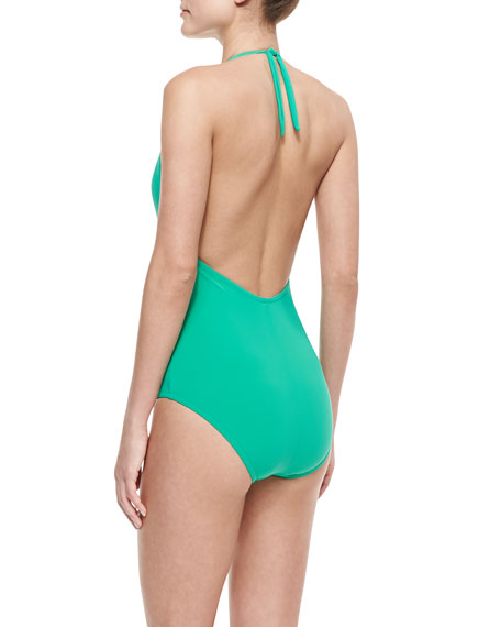 Basic Plunge Twisted One-Piece Swimsuit