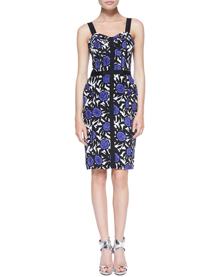 Clarissa Okina Floral-Print Sheath Dress