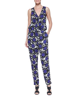 Rebecca Minkoff Suarez Okina-Stretch V-Neck Jumpsuit