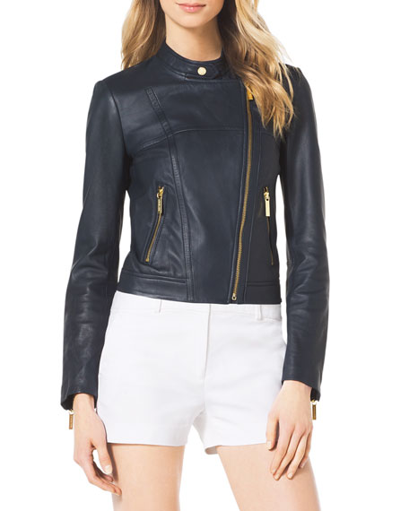 Asymmetric Leather Moto Jacket