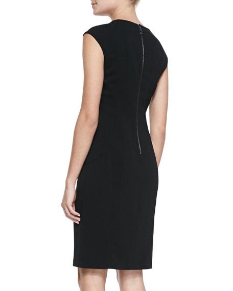 Cap-Sleeve Sheath Dress with Studs