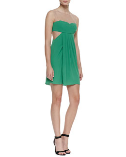 BCBGMAXAZRIA Aicha Crepe/Mesh Party Dress