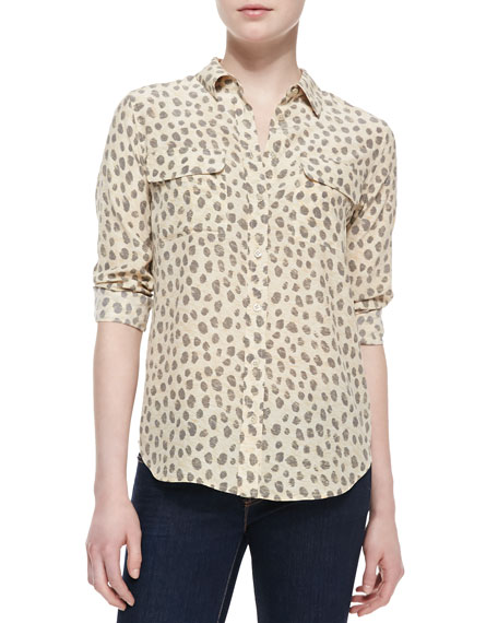 Slim Signature Silk Leopard-Print Blouse