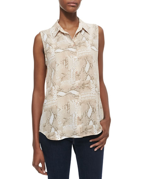 Colleen Snake-Print Sleeveless Blouse