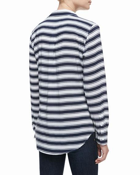 Signature Slim Striped Silk Blouse