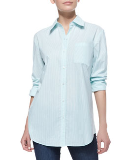 Neiman Marcus Plain Striped Oxford Fitted Shirt, Women's