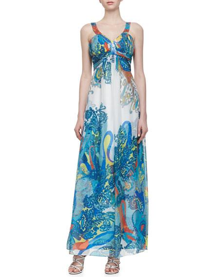 Paisley-Print Chiffon Gown