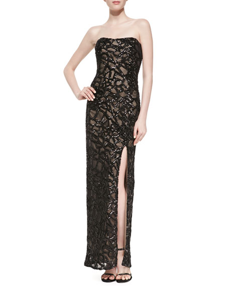 Strapless Beaded Gown w/Side Slit