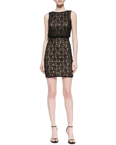 Aidan Mattox Sleeveless Lace Cocktail Dress, Black