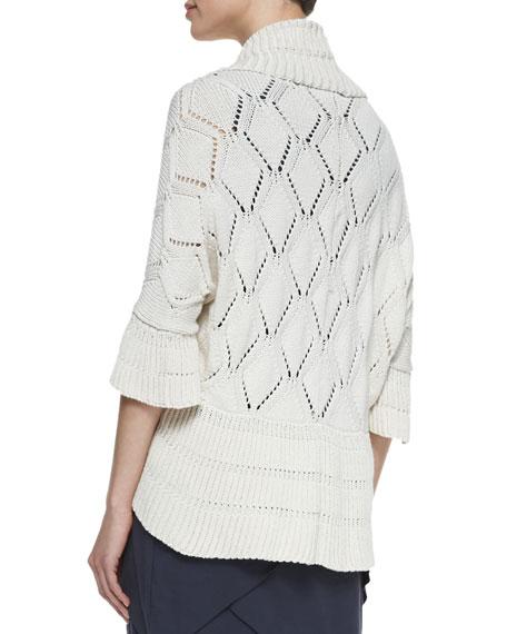 3/4-Sleeve Shrug Sweater, Cream