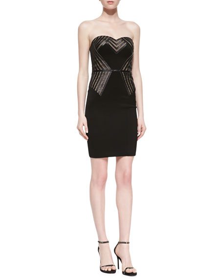 Strapless Bustier Dress With Nude Inset, Black