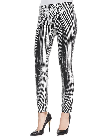 Wood-Grain-Print Skinny Ankle Jeans