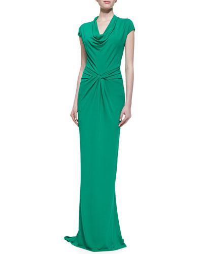 Michael Kors Draped Matte Jersey Gown, Emerald
