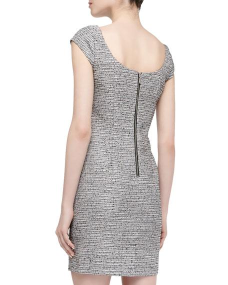Cap-Sleeve Link-Trim Boucle Dress, Black Multi