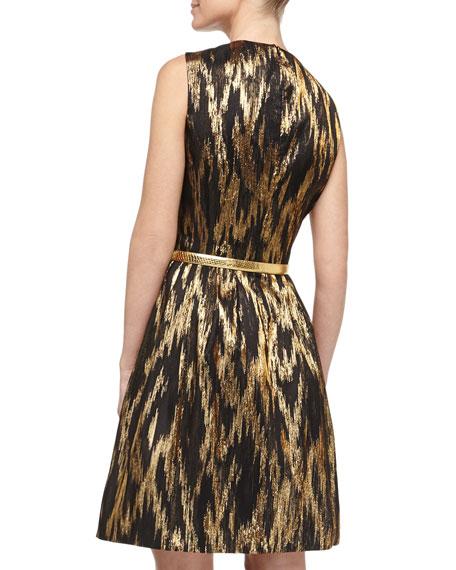 Metallic Ikat Jacquard Fit-And-Flare Dress, Black/Gold