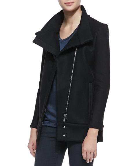 Pownil Front-Zip Crepe Jacket