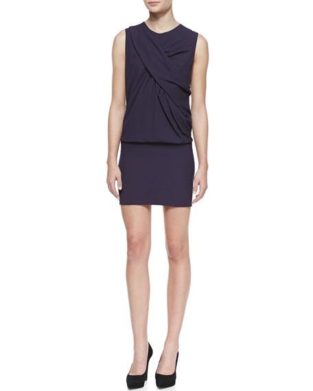 Bredy Drape-Front Sleeveless Jersey Dress, Dark Purple